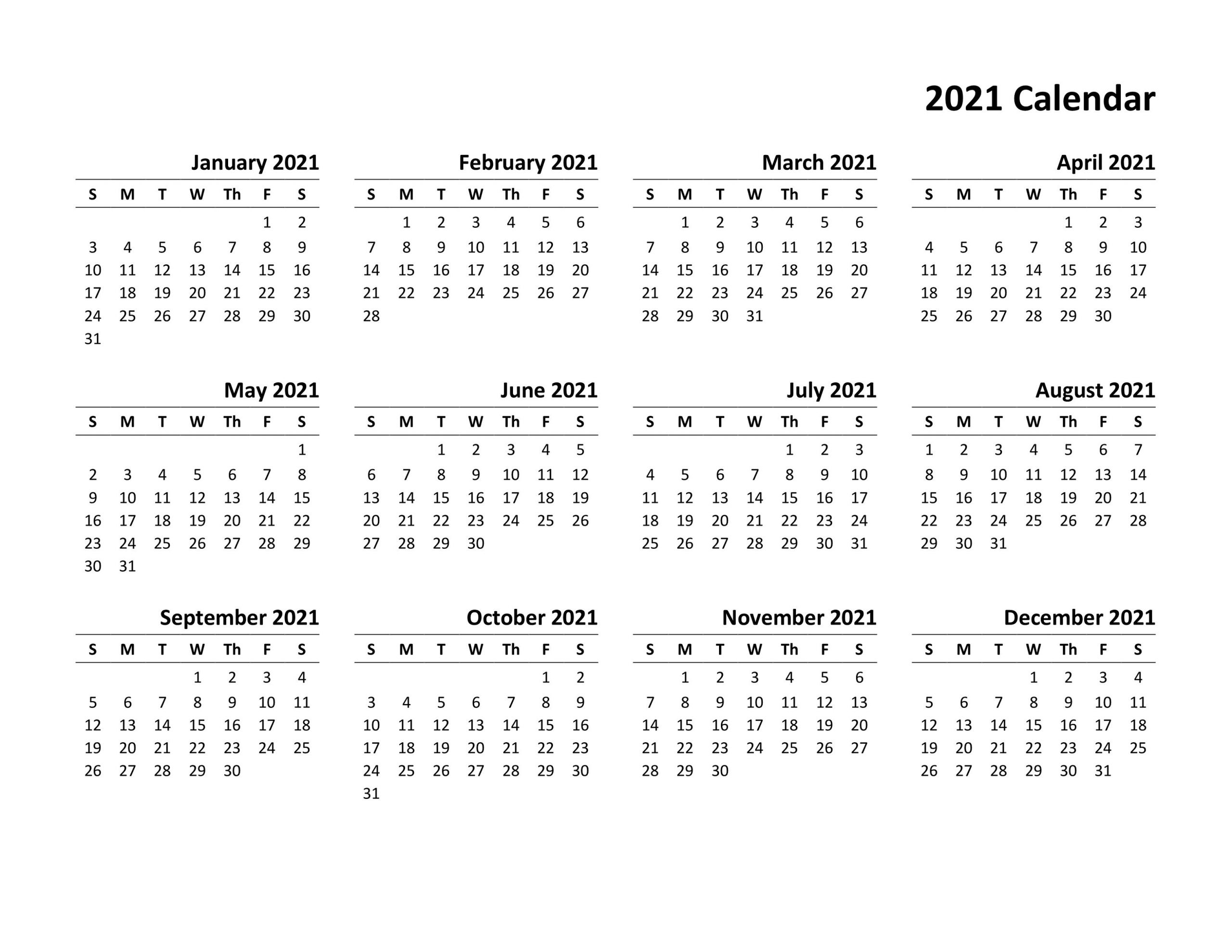 Monthly Calendar 2021 Canada For Visitors | Get Free