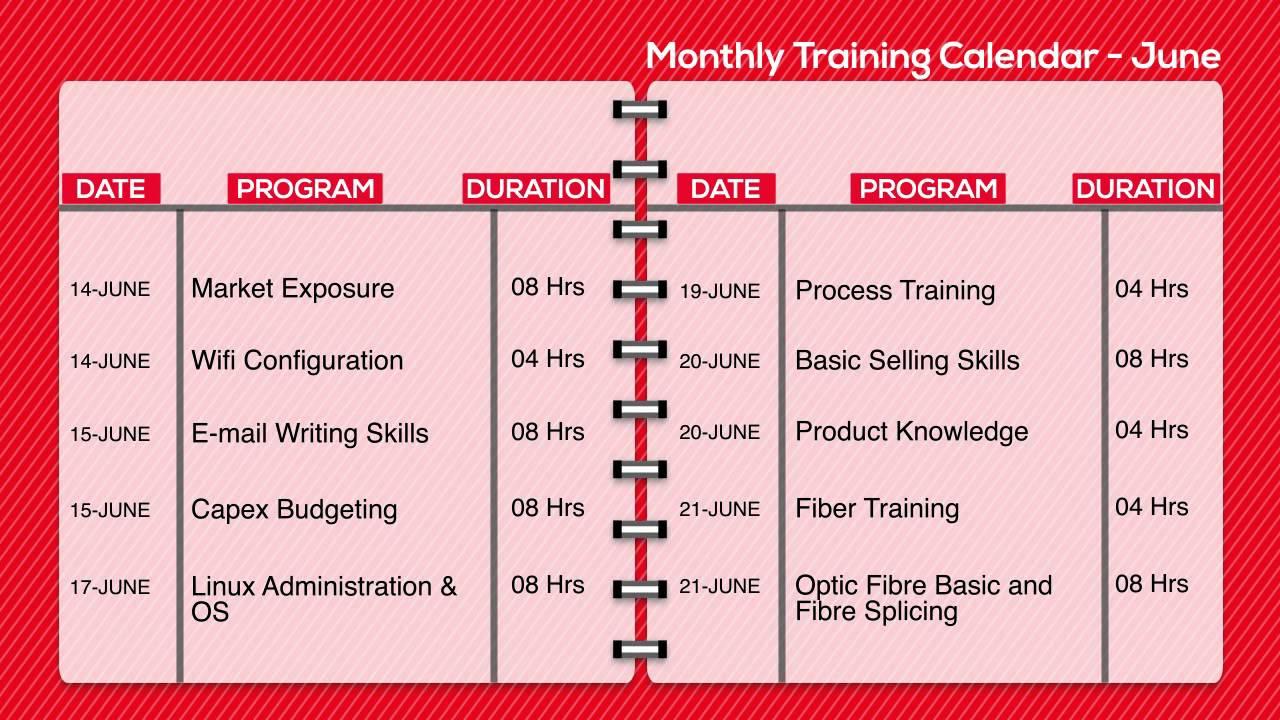 Monthly Training Calendar - Youtube