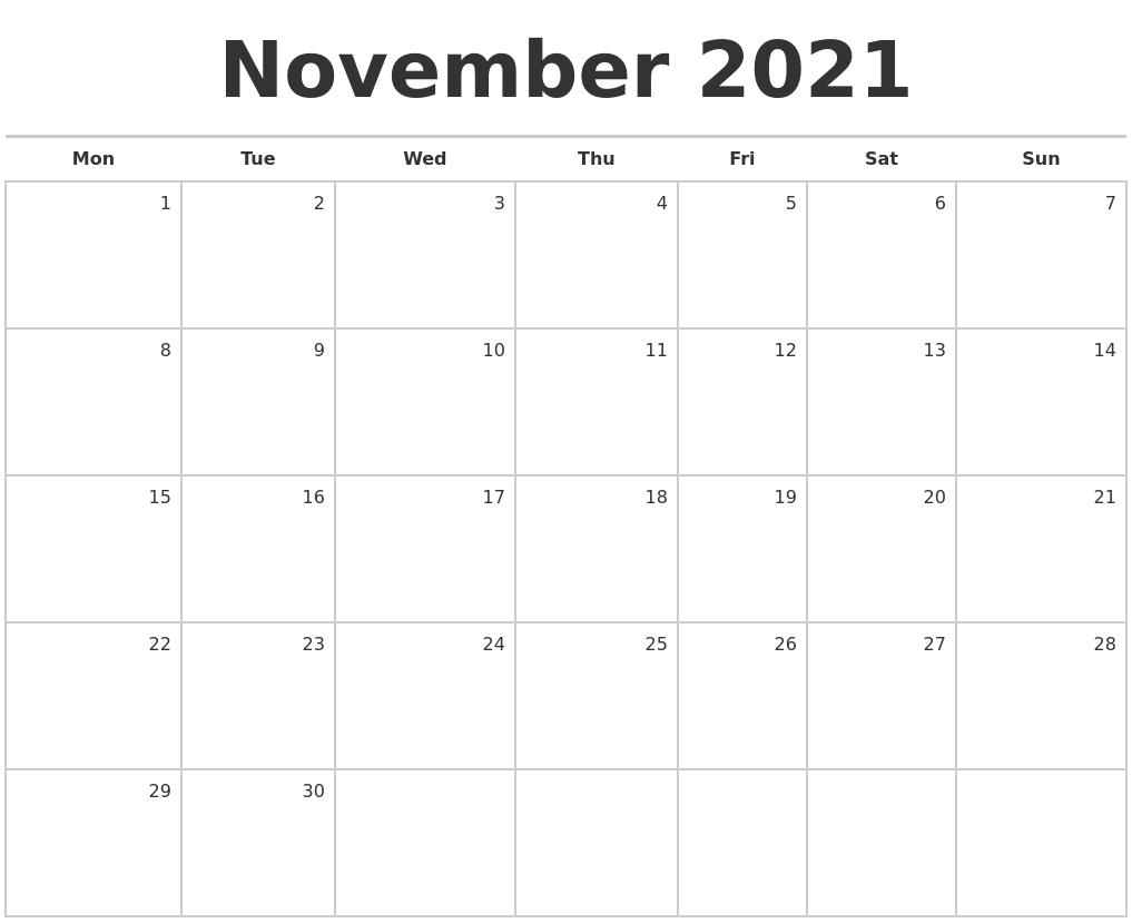 November 2021 Blank Monthly Calendar