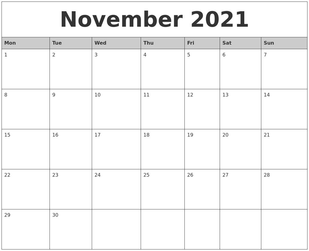 November 2021 Monthly Calendar Printable