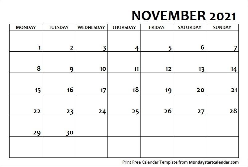 November Calendar 2021 Printable   Calvert Giving