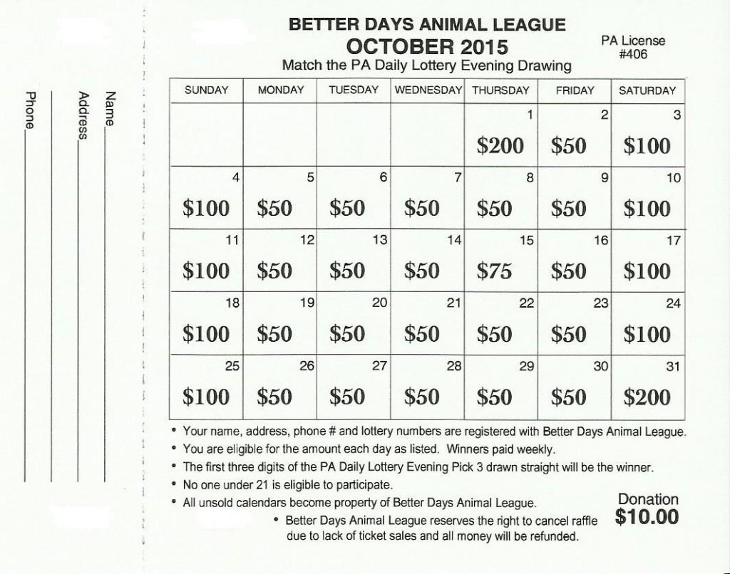 October 2015 - Bdal Lottery Raffle - Better Days Animal League