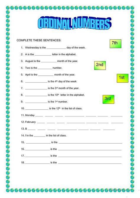Ordinal Numbers | Ordinal Numbers, Number Worksheets