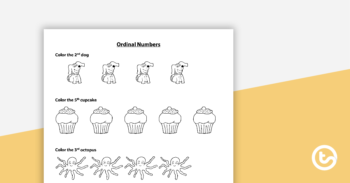 Ordinal Numbers Worksheet - Coloring And Matching Teaching