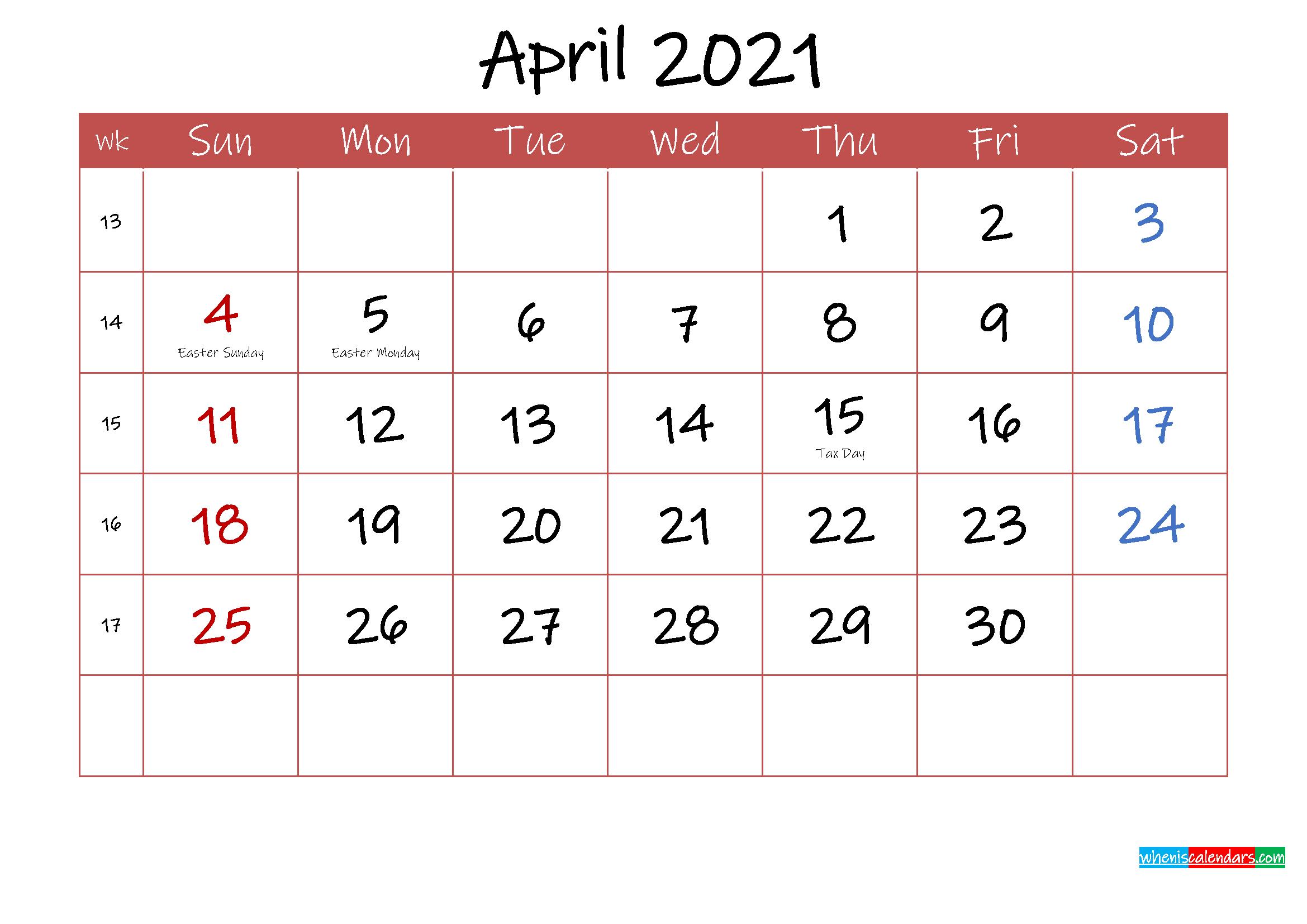 Printable April 2021 Calendar With Holidays - Template