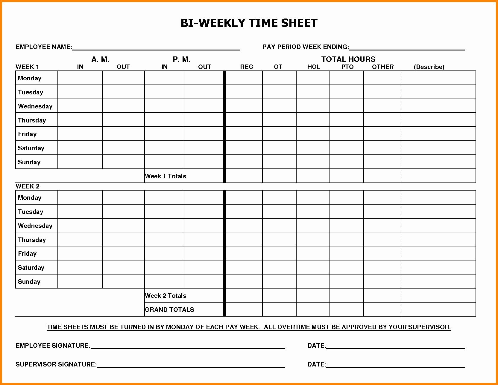 Printable Blank Bi-Weekly Employee Schedule | Free