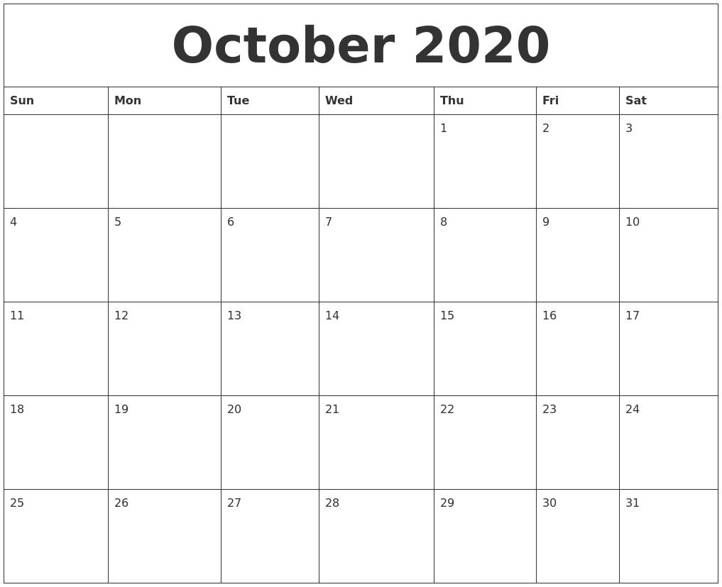 Printable Calendar With Big Blocks | Calendar Template 2021