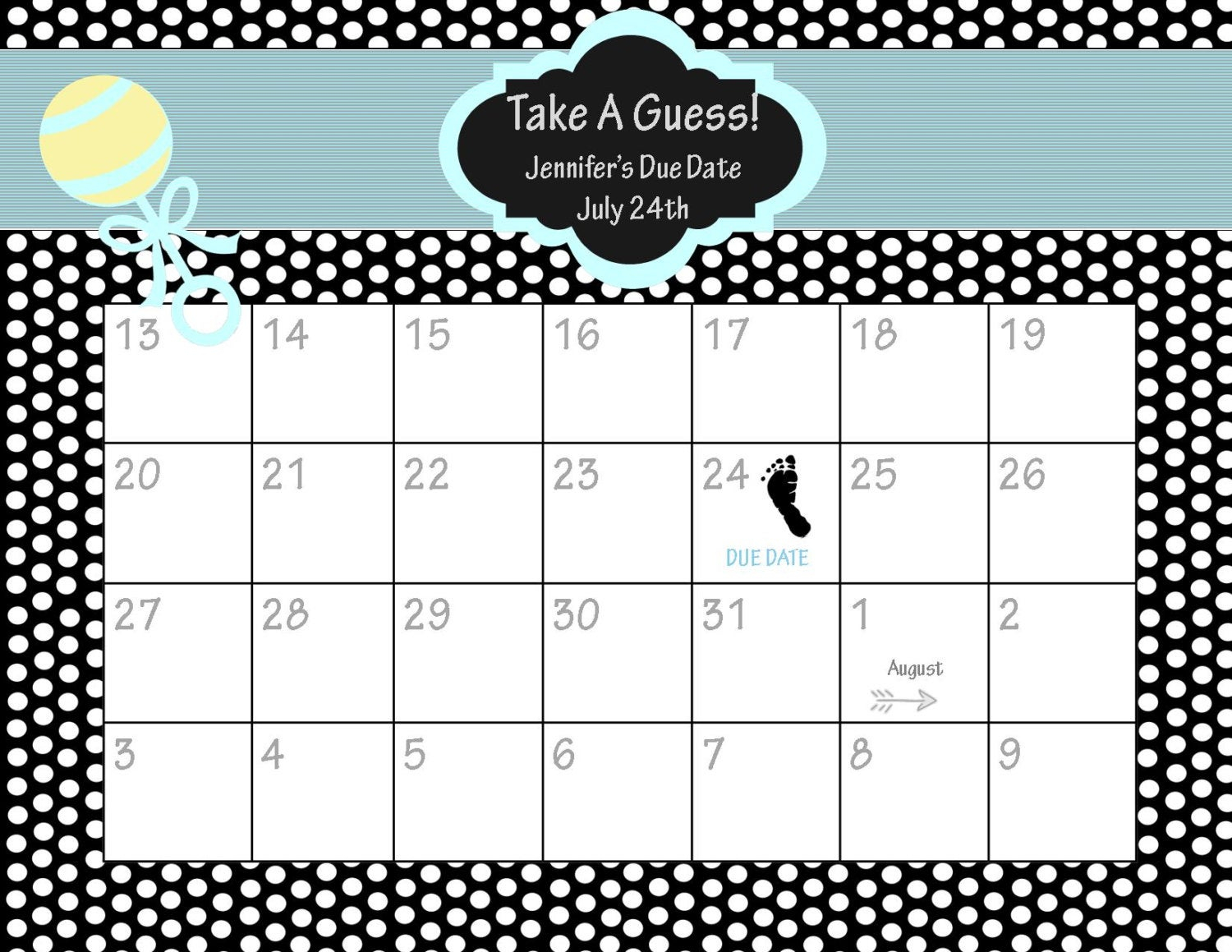 Printable Due Date Calendar // Baby Shower Game // By