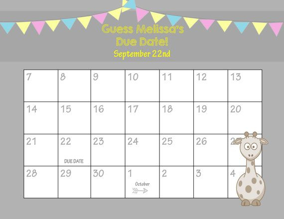 Printable Due Date Calendar // Baby Shower Game // Guess