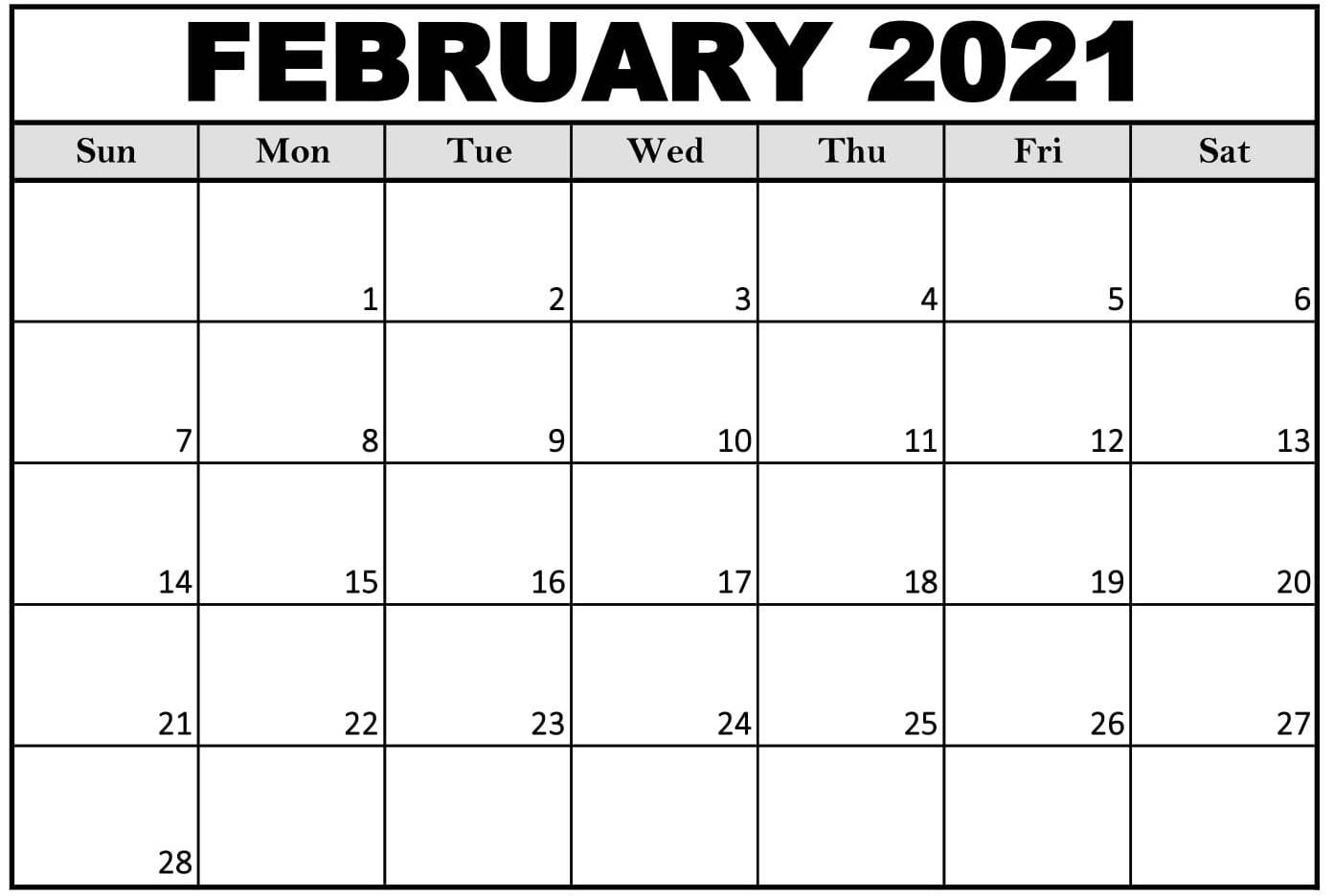 Printable February 2021 Calendar Office | Free Printable