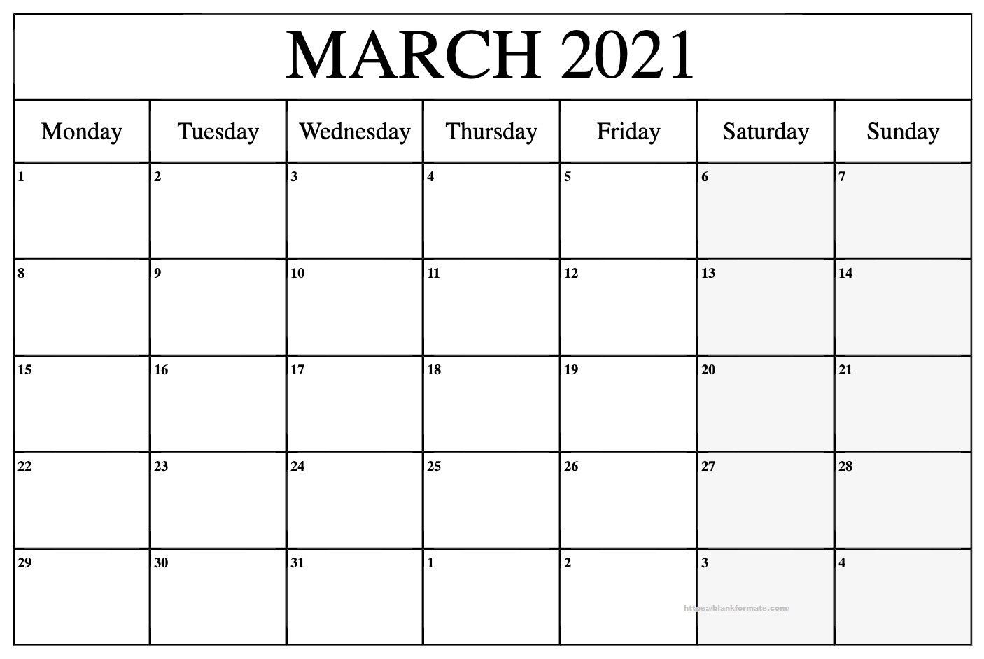 Printable March 2021 Calendar - Pdf, Word, Excel Sheet