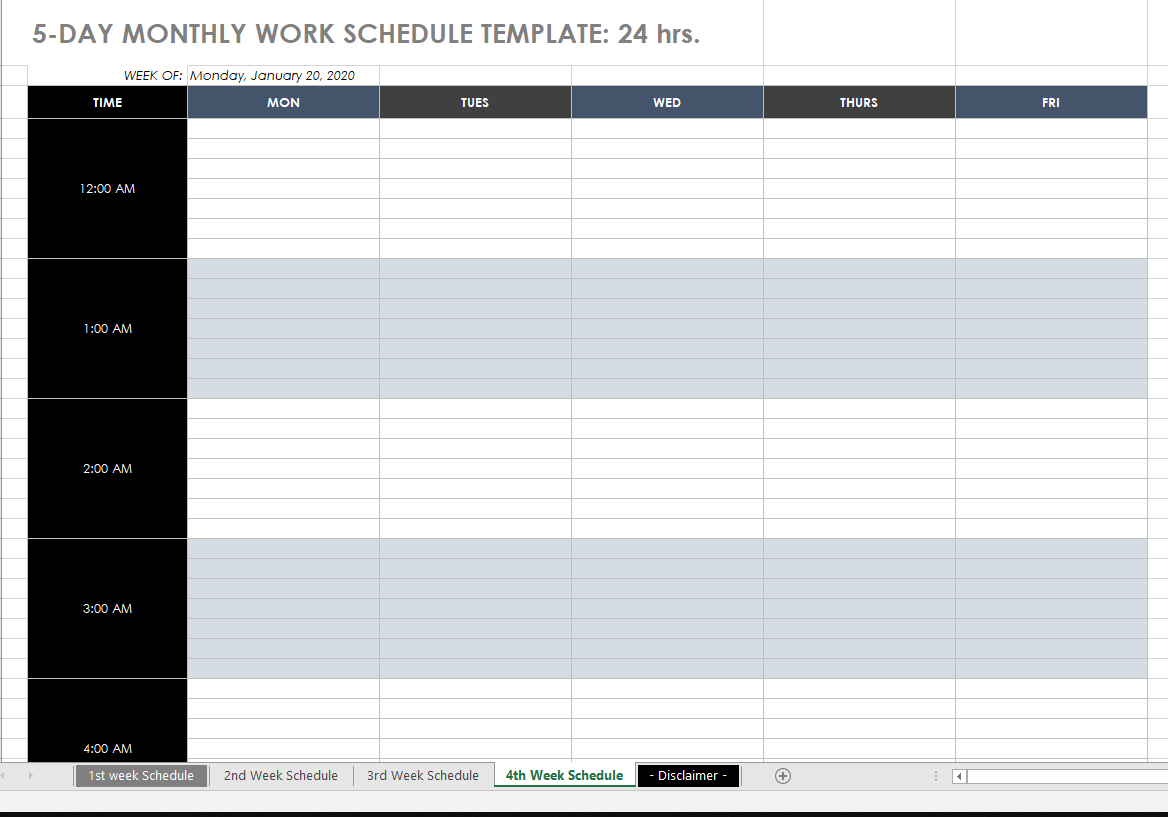 Printable Monthly Employee Schedule Templates - Time Clock