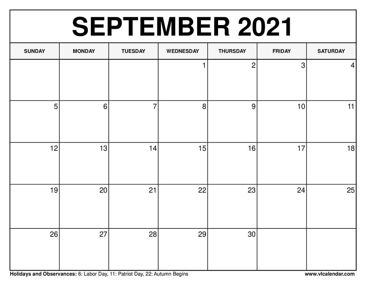 Printable September 2021 Calendar Templates With Holidays