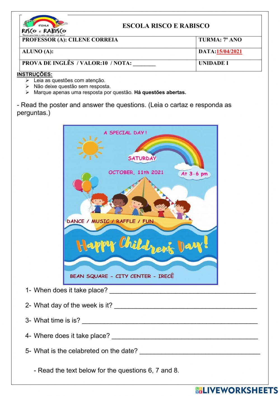 Prova De Inglês Worksheet