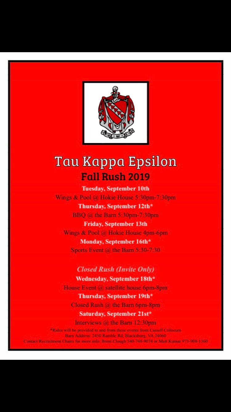 Recruitment Schedule And Contact - Interfraternity Council