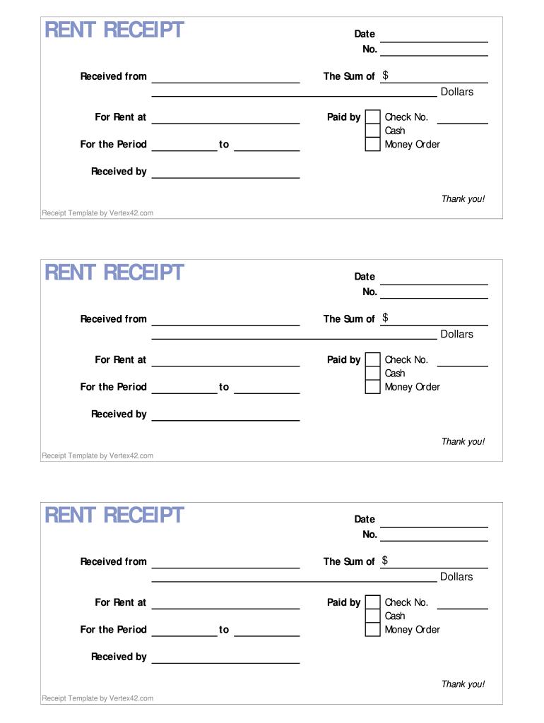 Rent Receipt - Fill Online, Printable, Fillable, Blank