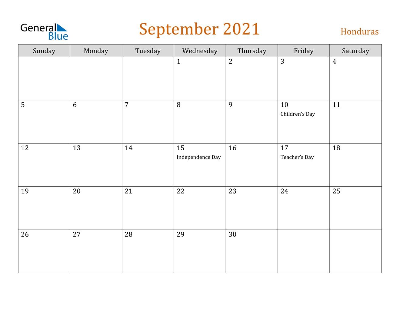 September 2021 Calendar | Calendar Printables Free Blank