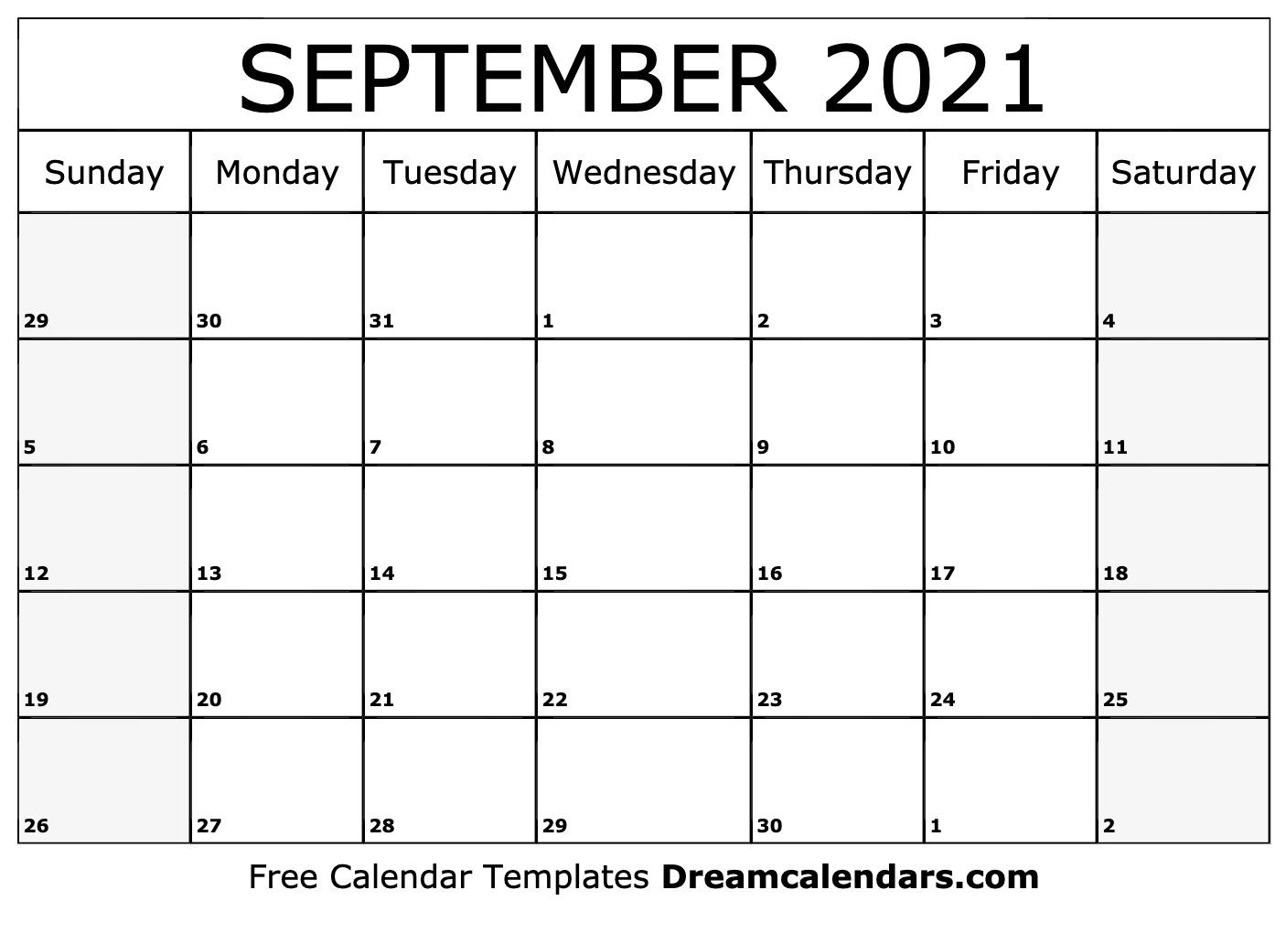 September 2021 Calendar | Free Blank Printable Templates