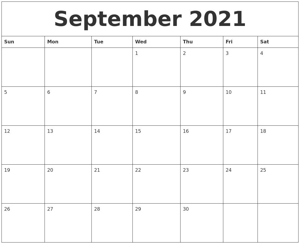 September 2021 Create Calendar