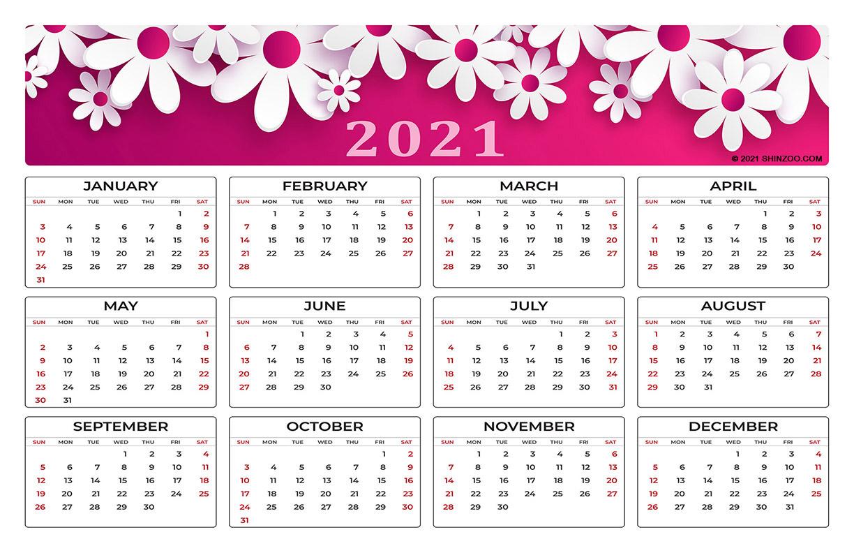 Symbolic White Flowers On Pink Background: 2021 Calendar