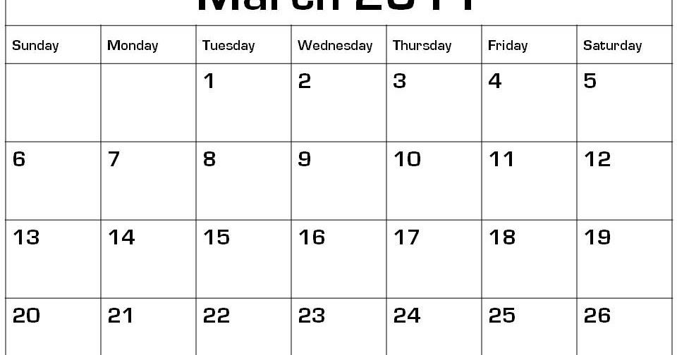The Temptation News: March Calendar 2011 Printable Kids