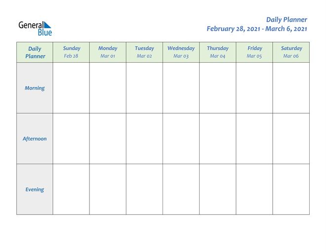 Weekly Calendar - February 28, 2021 To March 6, 2021