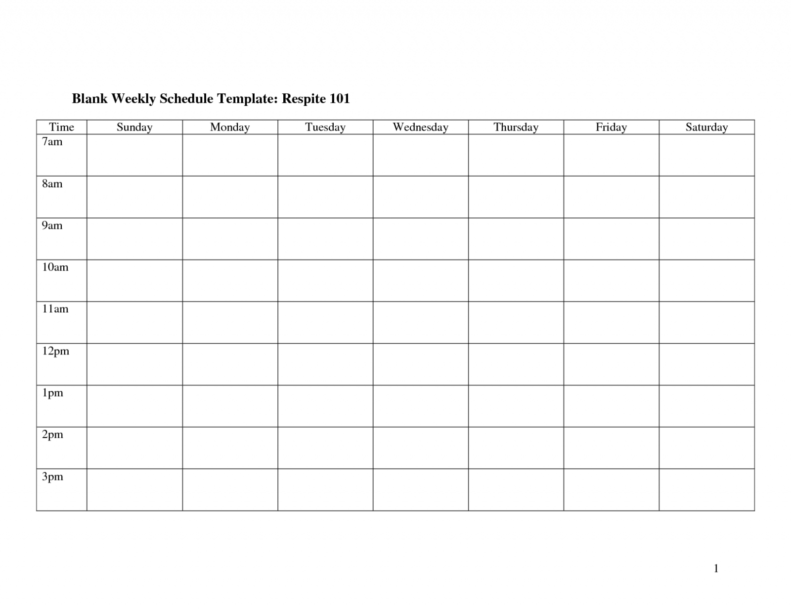 Weekly Calendar Template Monday To Friday | Example