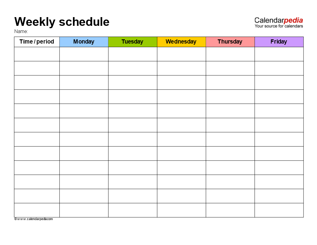 Weekly School Schedule Template | Templates At