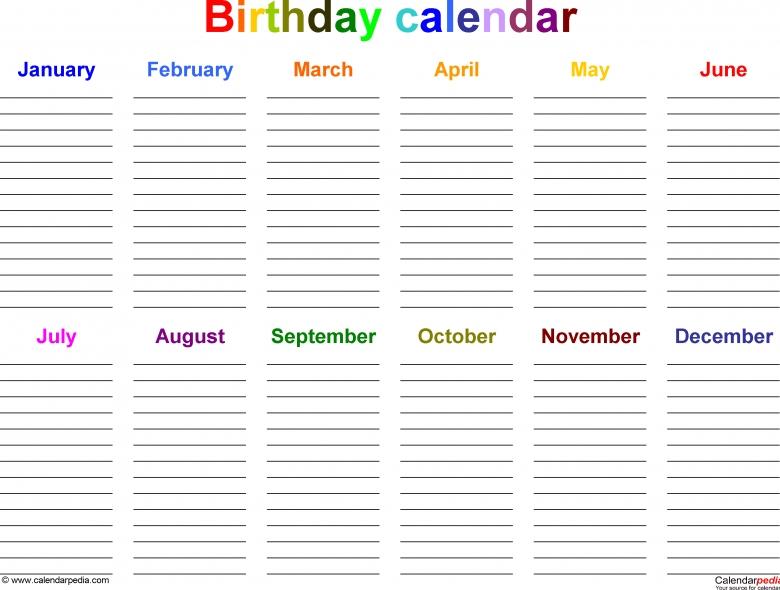 12 Month Birthday Calendar Template :-Free Calendar Template