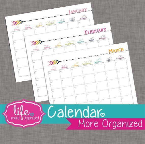 12 Month Landscape Calendar - Fill In The Dates - Digital