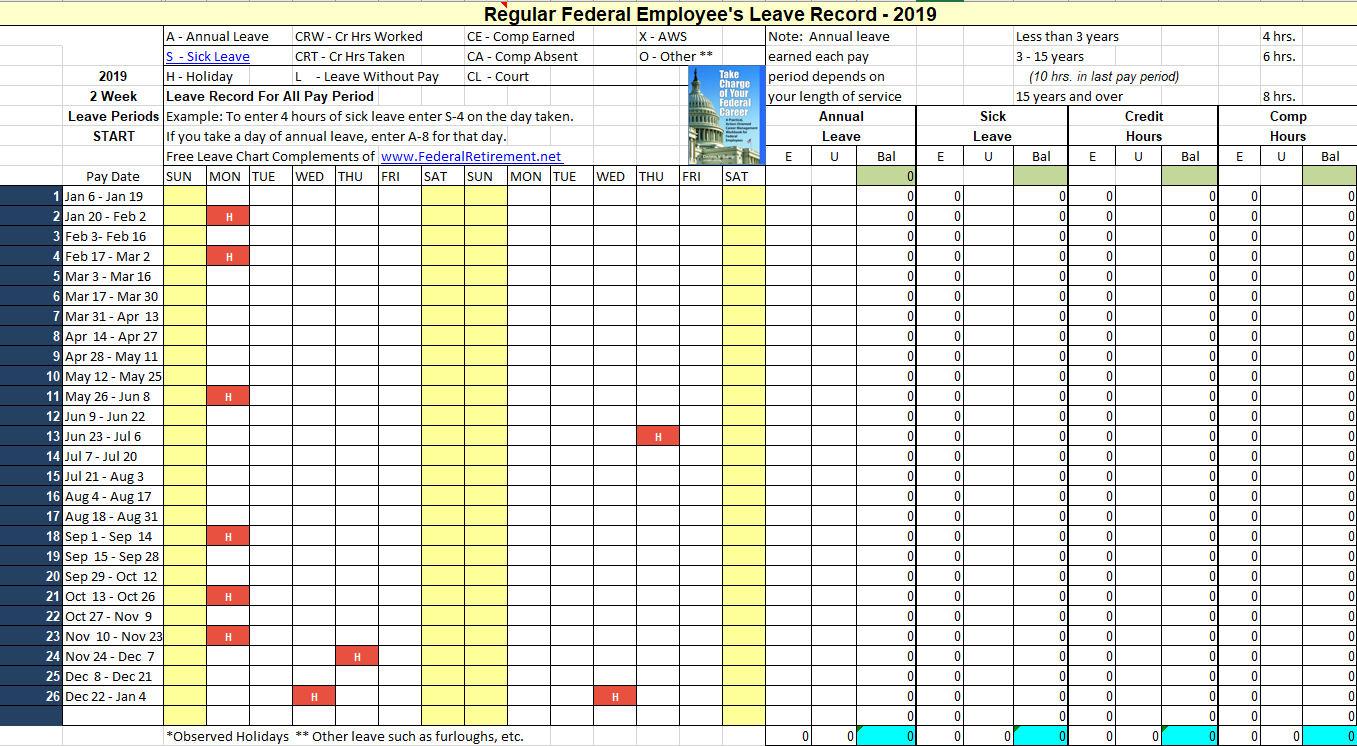 2019 Leave Chart & Schedule Tracker Now Available