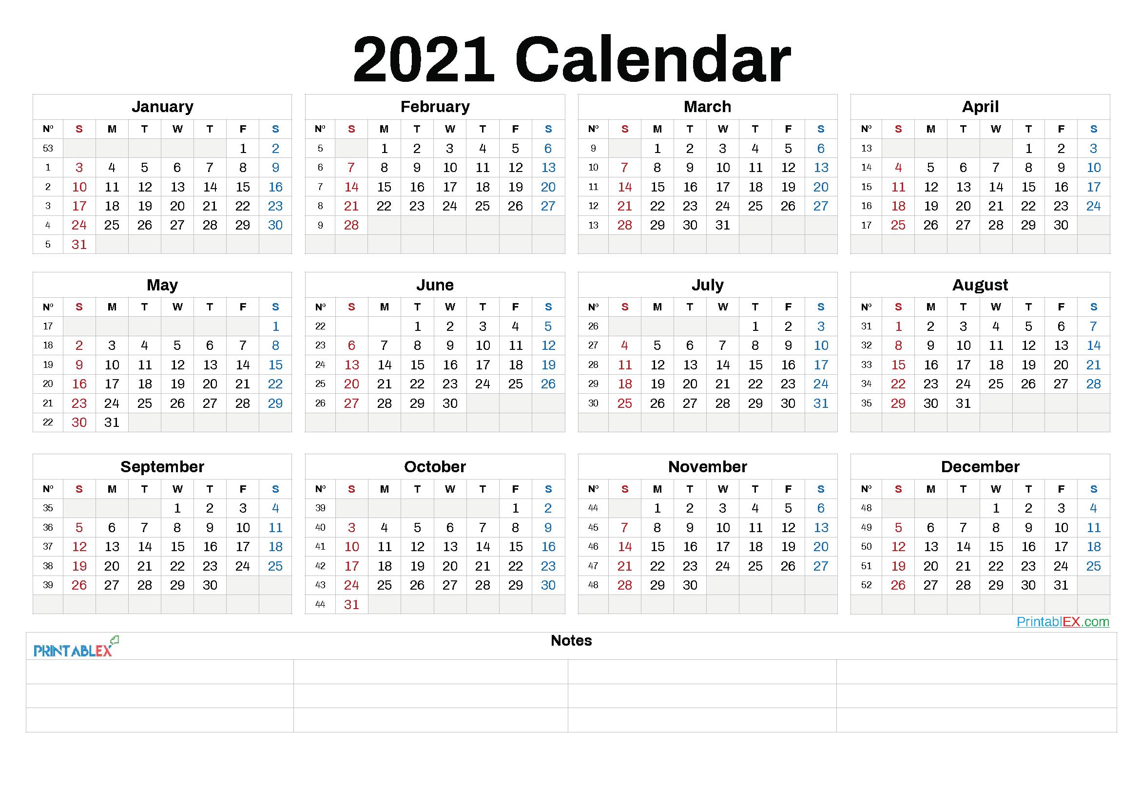 2021 Annual Calendar Printable | 2021 Printable Calendars