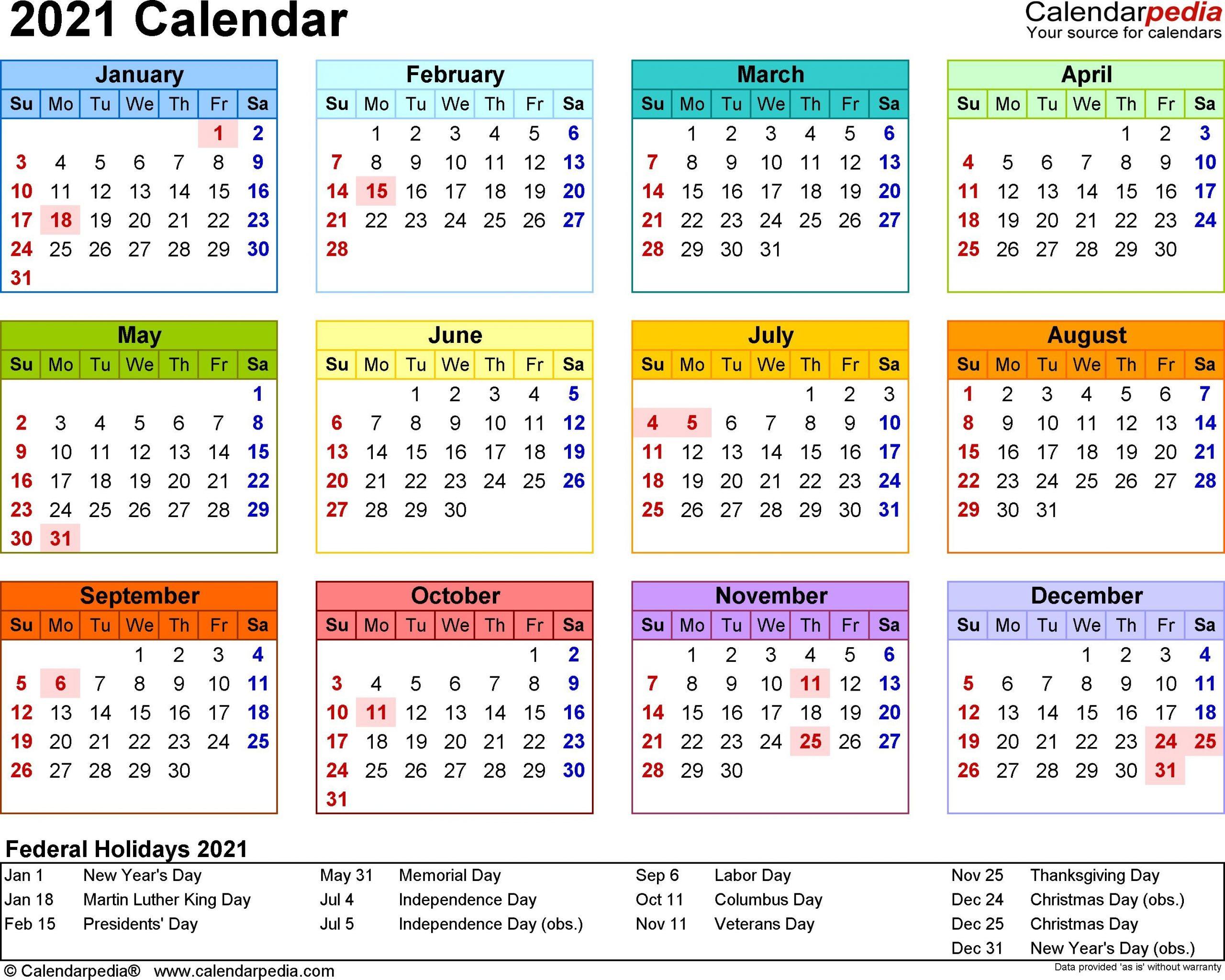 2021 Calendar Template 3 Year Calendar Full Page