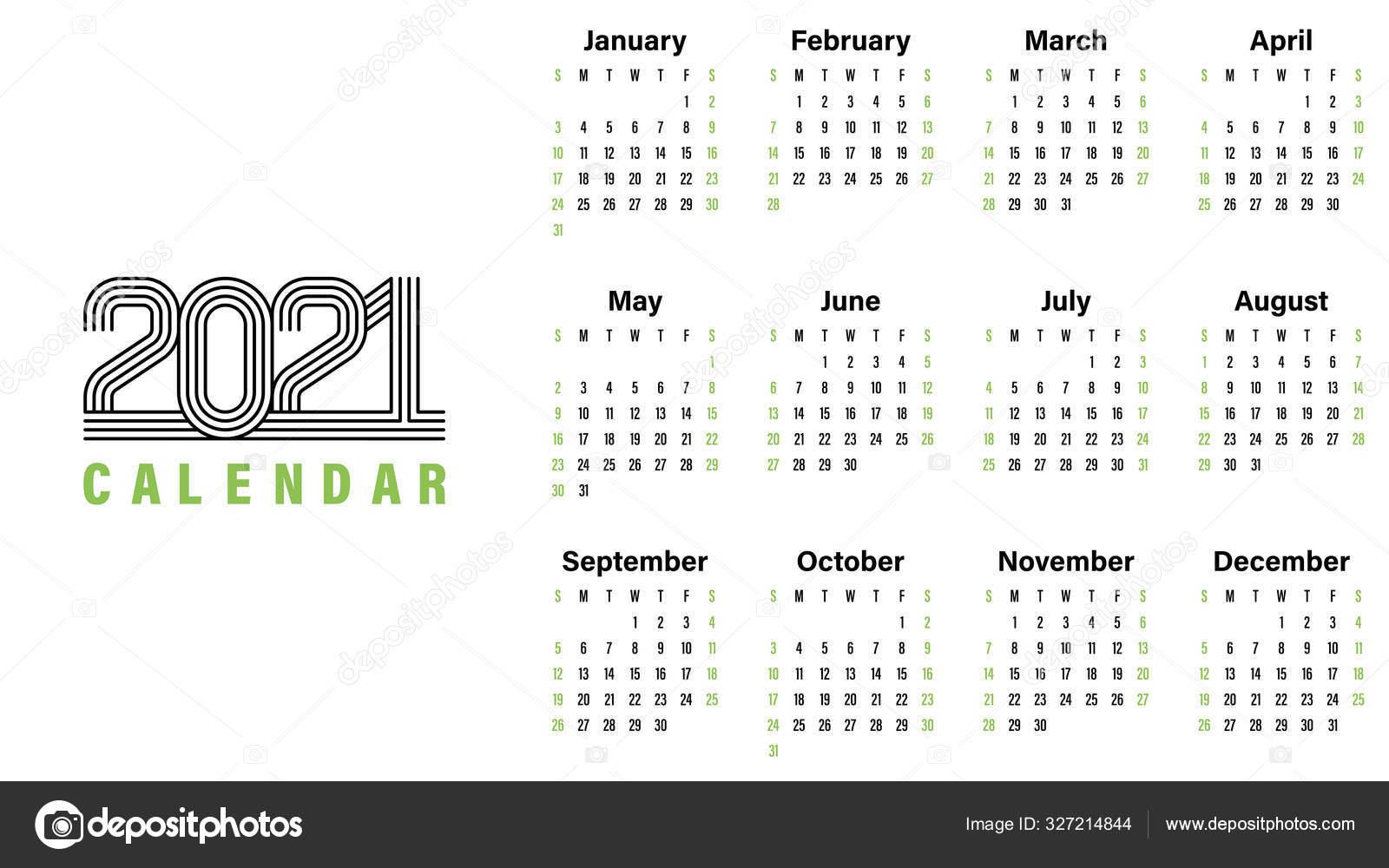 2021 Calendário Modelo Vetor Ilustração Projeto Simples