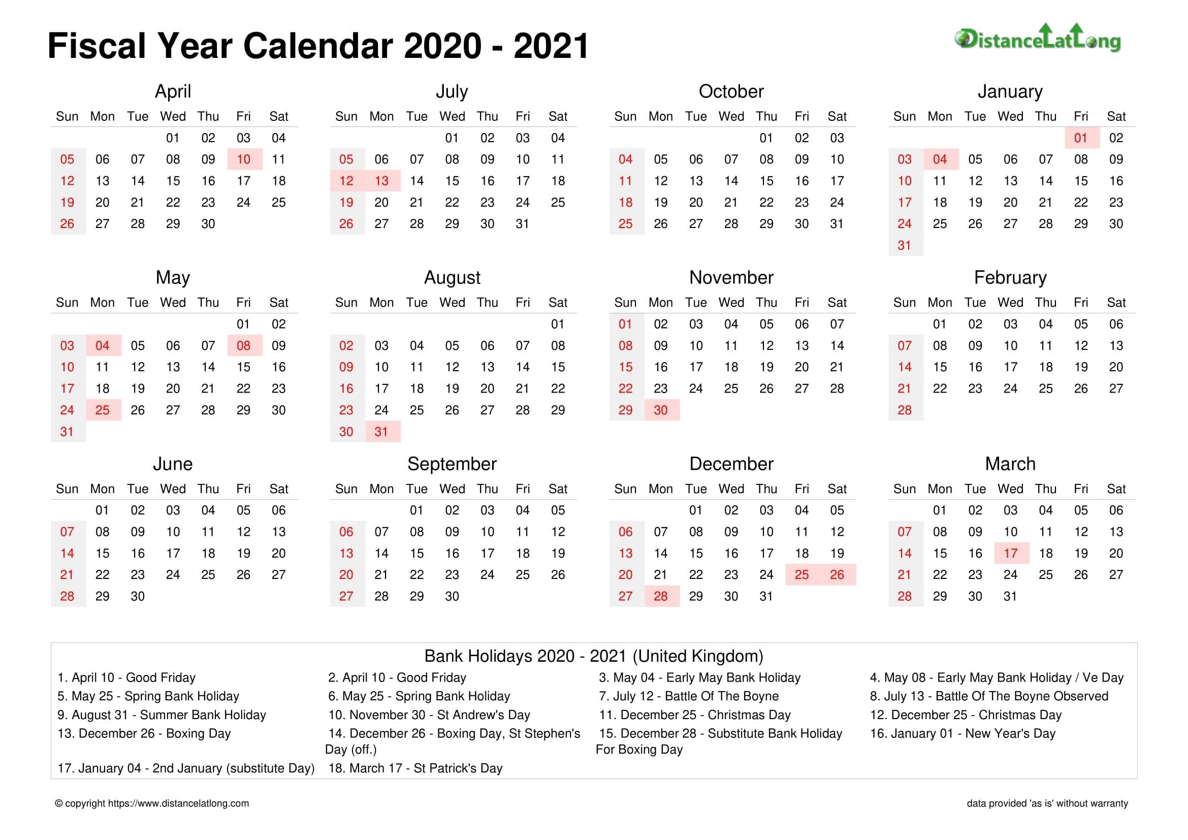 2021 Financial Year Dates Australia - Template Calendar Design