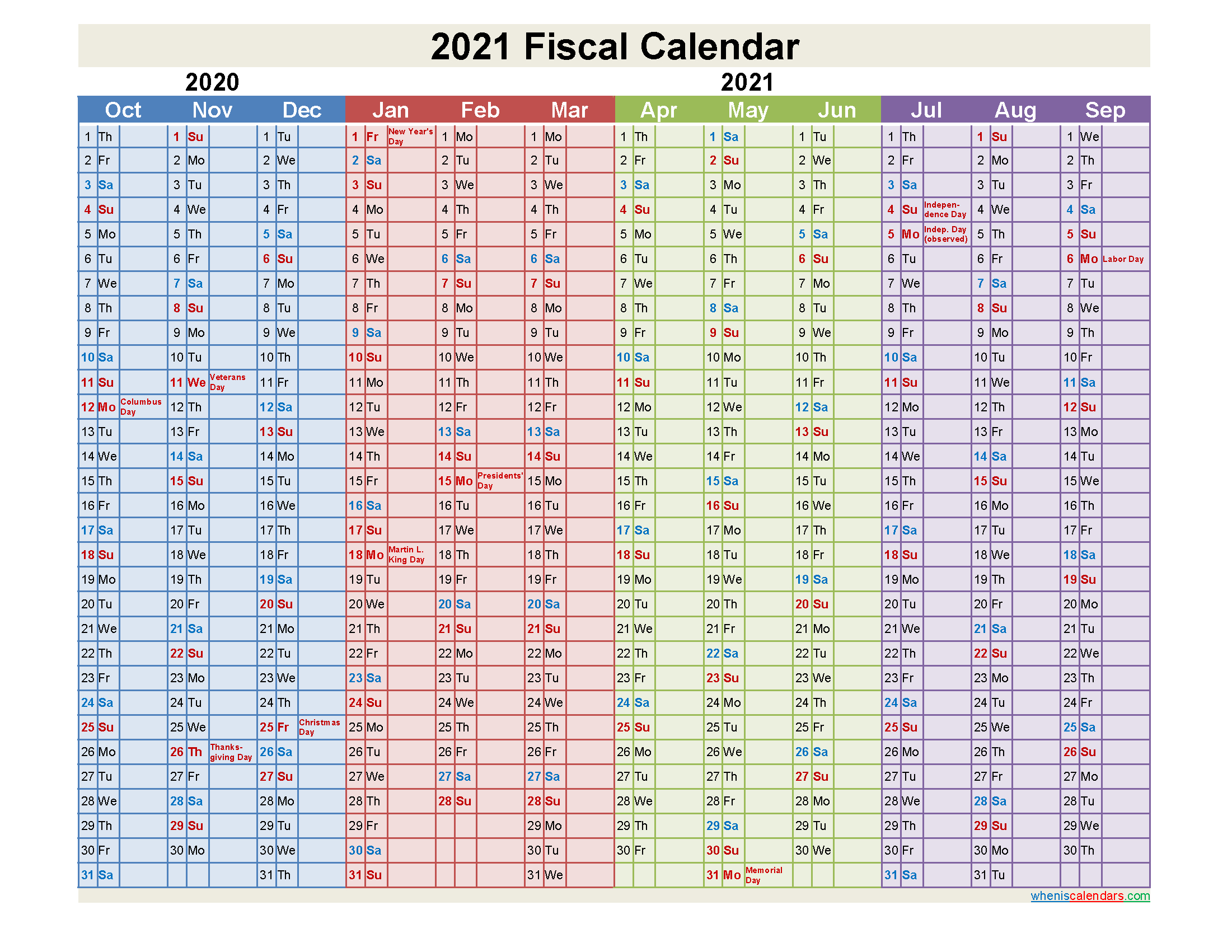 2021 Fiscal Calendar - Template Nofiscal21Y2