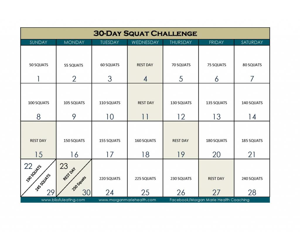 30-Day Squat Challenge Calendar - Calendar Template 2020
