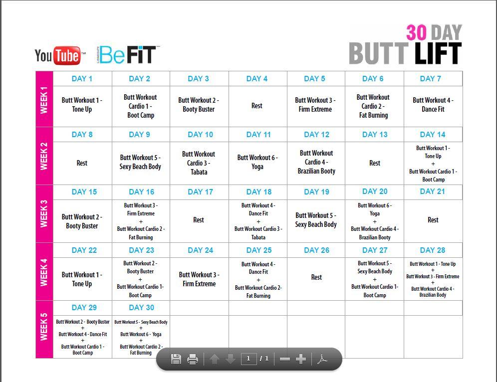 30 Day Workout Calendar - Calendar Template 2021
