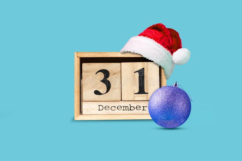 31 December Calendar Of Wooden Blocks, Santa Hat