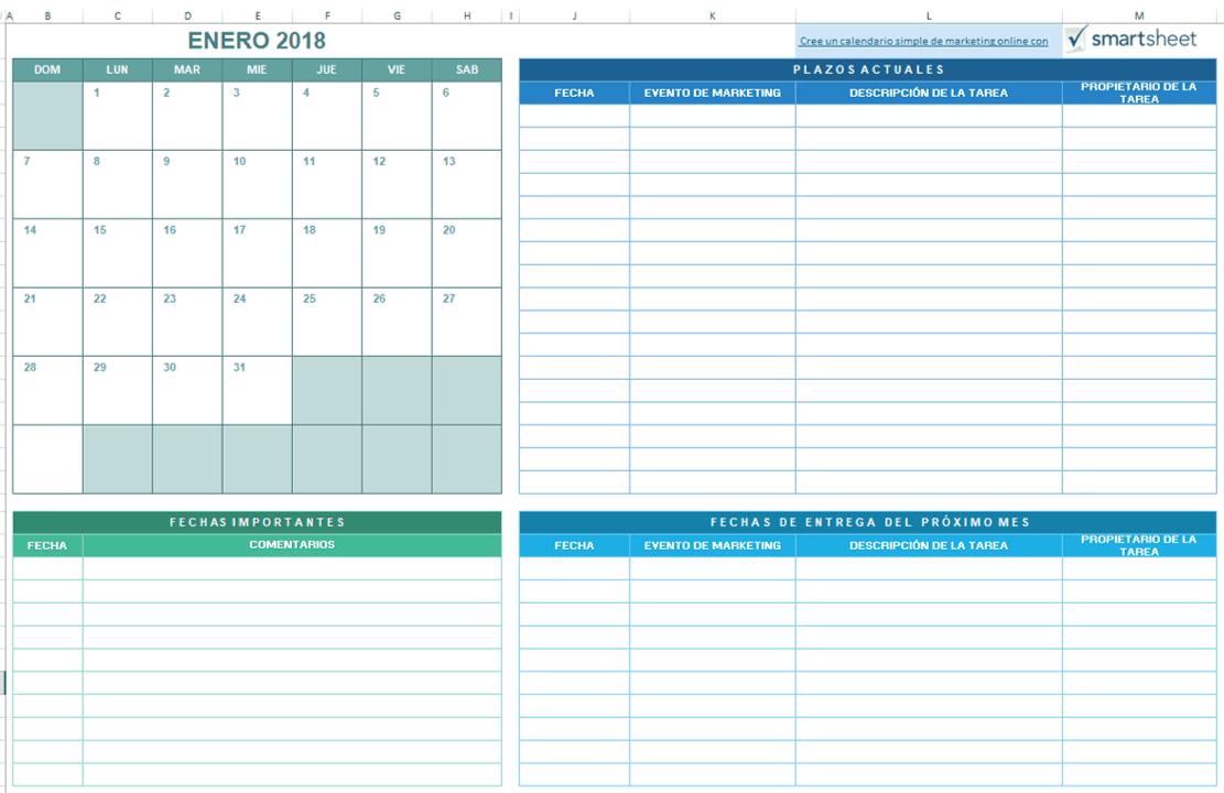 9 Plantillas De Calendario De Marketing Para Excel Gratis