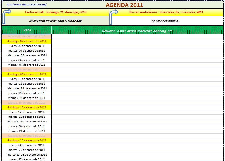 Agenda 2011 En Excel