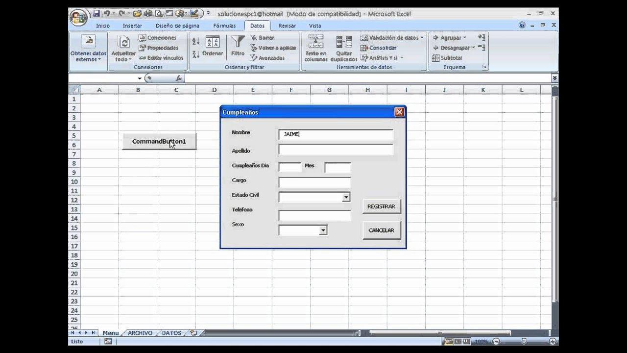 Agenda Automatizada Excel Part3Wmv - Youtube