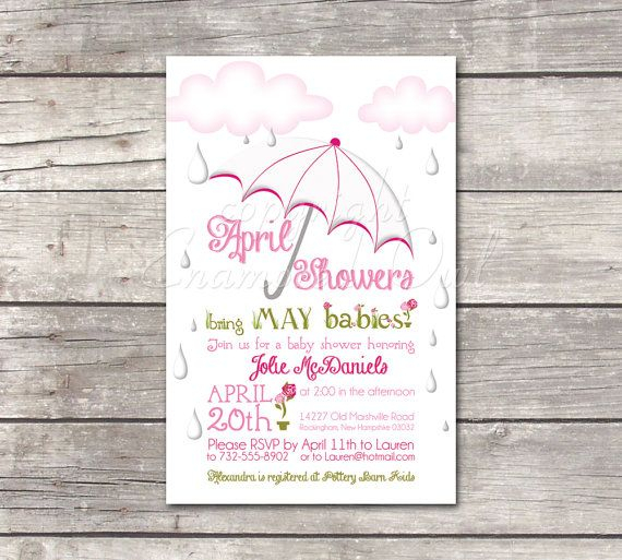 April Showers May Due Date Pink & Green Baby Shower By