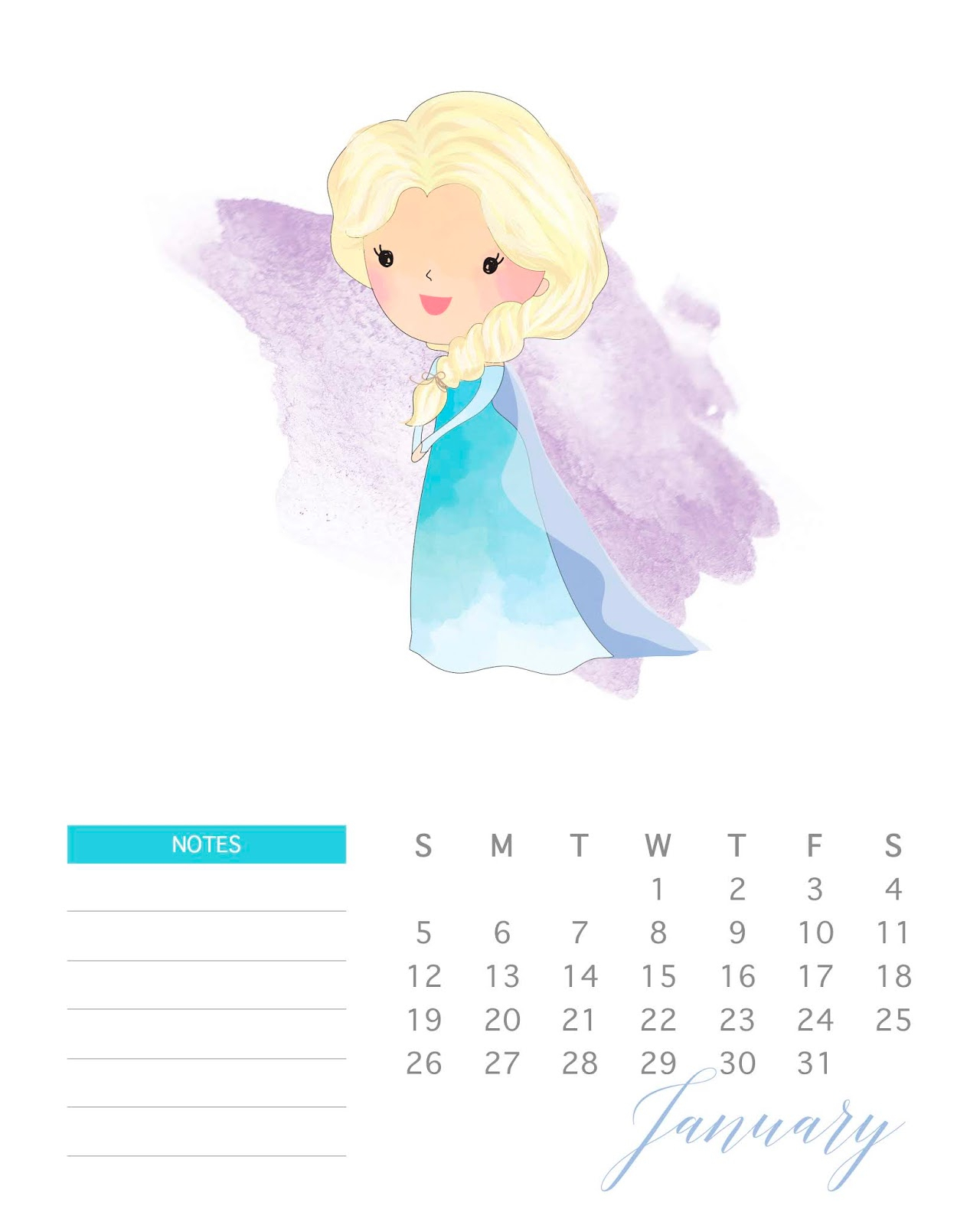 August 2020 Printable Calender Disney Princess | Example
