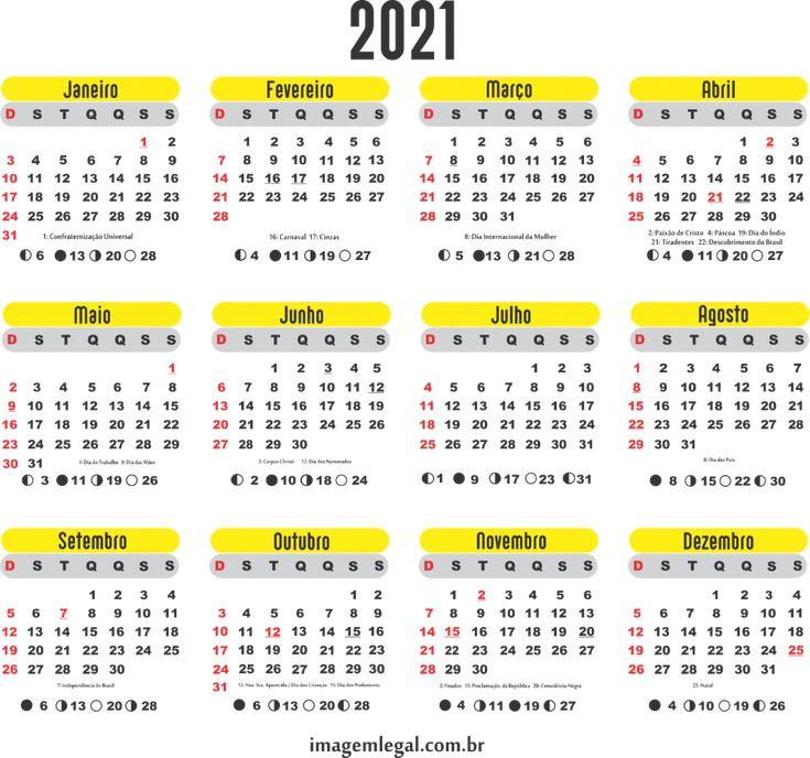 Base Calendário 2021 Amarelo | Imagem Legal | Calendário