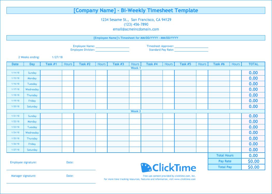 Bi Weekly Expenses Spreadsheet In Biweekly Timesheet