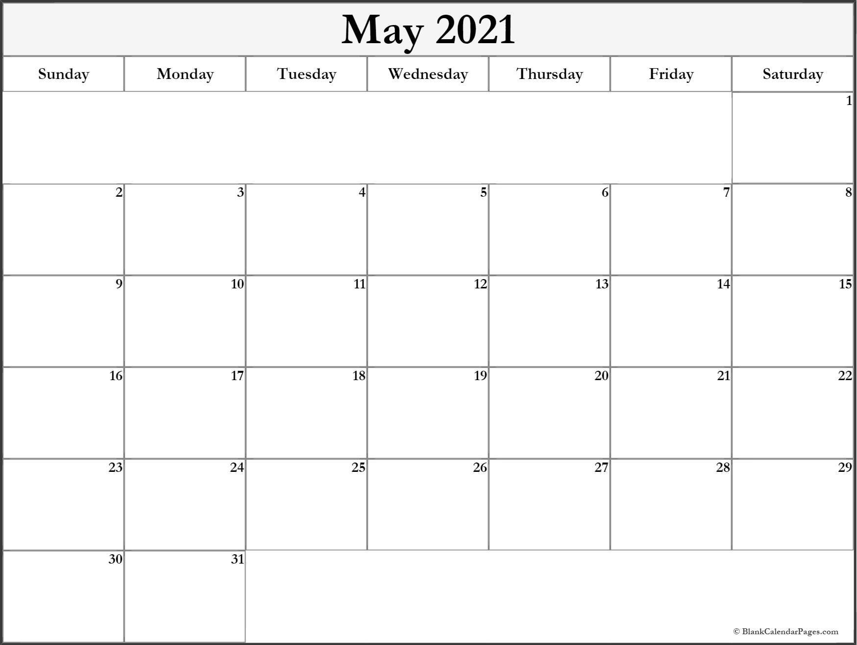 Blank May 2021 Calendar - Calendar 2020