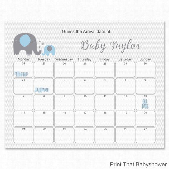 Blue Elephant Baby Shower - Guess The Due Date - Baby