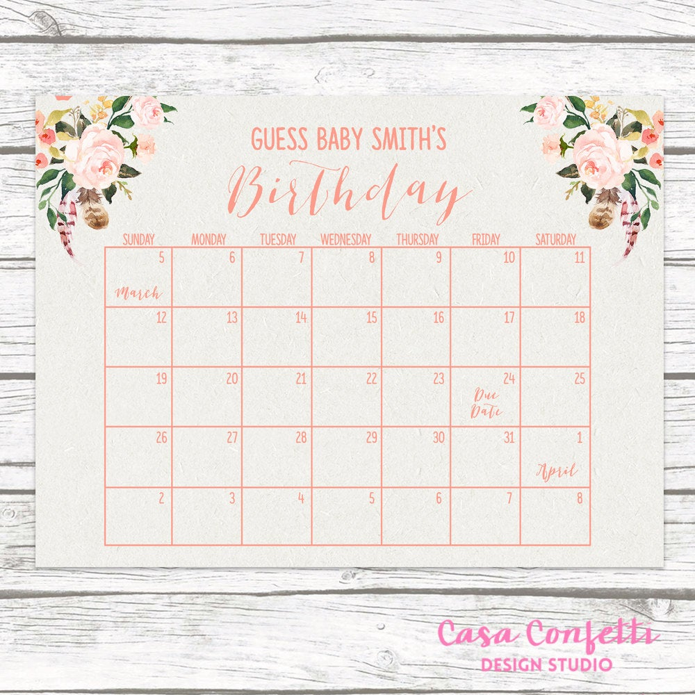 Boho Due Date Calendar, Guess Baby'S Due Date, Baby Shower