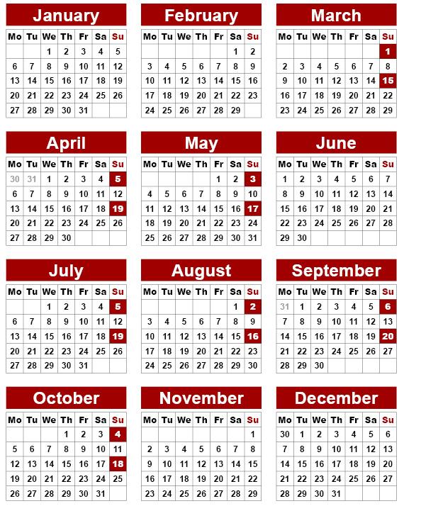 Calendar 2020 - Nkd Training